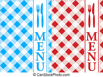 Menu Cards - Red and Blue Gingham