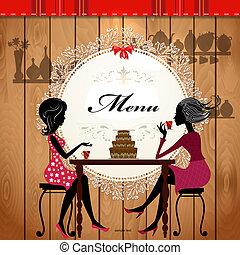 menu, cartão, desenho, para, um, cute, café