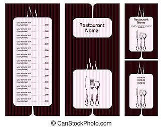menu, cartão, modelo