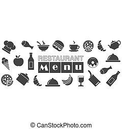 menu, cartão, restaurante