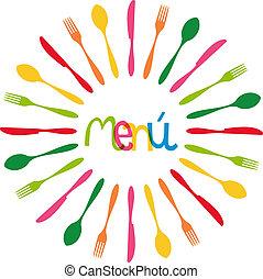 menu, cerchio, coltelleria, illustrazione