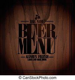 menu, cerveja, desenho, barzinhos