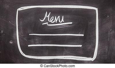 MENU chalk on black board