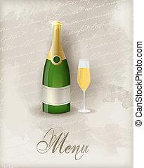 menu, champagne, gabarit, bouteille