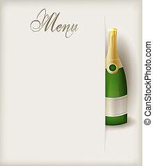 menu, champanhe, modelo, garrafa