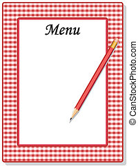 Menu, Check Gingham Frame, Pencil - Retro red gingham check...
