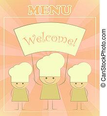 menu, chef, bambini, disegno