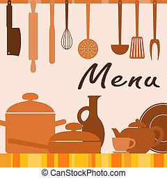 menu, cobertura, fundo, cozinha
