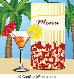 menu, cocktail