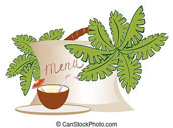 menu, com, um, exoticas, coquetel, em, um, coco, com, um, árvore palma, e, flowers., eps10, vetorial, ilustração