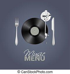 menu, concept., illustration, vecteur, musique, fond, conceptuel, élégant, vinyle, ton, couteau, design.
