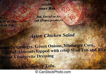 menu, concept, mètre à ruban