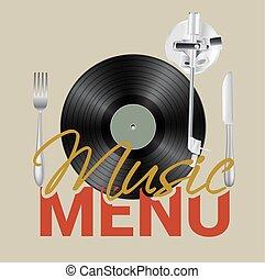 menu, concept., vetorial, música, fundo, vinil, faca