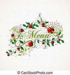 menu, conception, pommes, rouges, restaurant