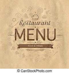 menu, conception, retro, restaurant