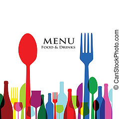 menu, conceptions, couverture, retro, restaurant