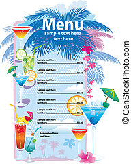 menu, conceptions, gabarit, cocktail