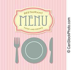 menu, coperchio, sagoma, ristorante