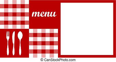 menu, coutellerie, texte, nappe, blanc rouge, design.