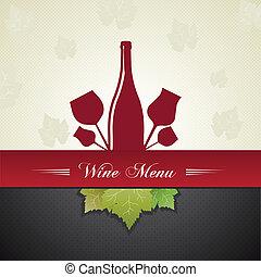 menu, couverture, vin