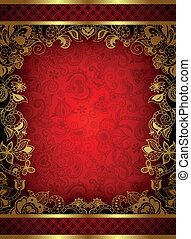Illustration of abstract red background with gold floral.