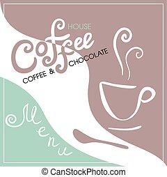 Menu cover for cafe, bar, coffeehouse