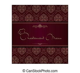menu, cover., royal, restaurant