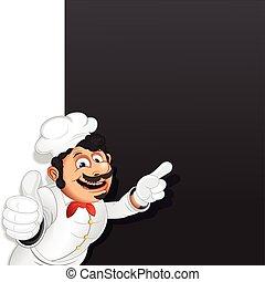 menu, cozinheiro, cozinheiro, vetorial, modelo, chalkboard.