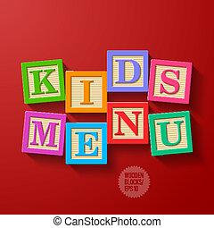 menu, crianças, cobertura