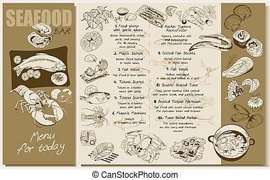 menu, croquis, fruits mer, gabarit, restaurant