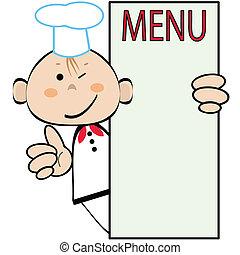 menu, cuisinier, rigolote, vecteur