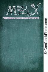 menu, de, a, dia, letra, ligado, chalkboard