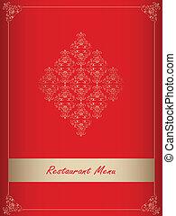 menu, desenho, especiais, vermelho, restaurante