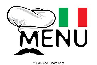 menu, desenho, italiano
