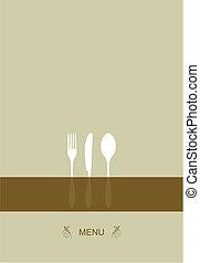 menu, desenho, para, restaurante