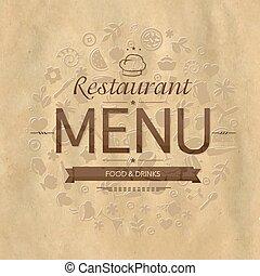 menu, desenho, retro, restaurante