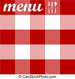 menu, design., bestek, op, rode tablecloth, textuur