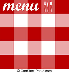Menu design. Cutlery on red tablecloth texture - Food,...