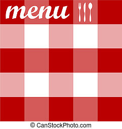 Food, restaurant, menu design with cutlery silhouettes on red tablecloth texture. Vector available