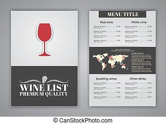 Menu design (brochures, flyers) for wine shops, cafes or restaurants. Vector illustration.