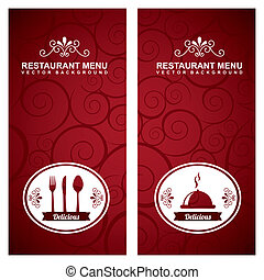 menu design over red  background vector illustration
