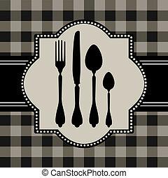 menu, di, cibo, scheda