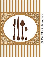 menu, di, ristorante, scheda, vettore