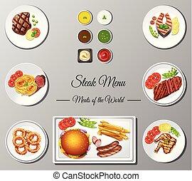 menu, différent, bifteck, affiche