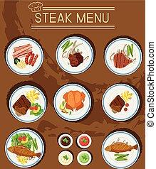 menu, différent, bifteck, viandes, types