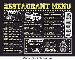 menu, disegno, attraente, ristorante