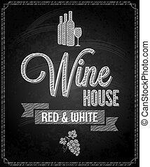 menu, disegno, lavagna, fondo, vino