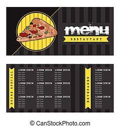 menu, disegno, retro
