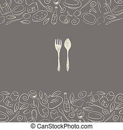 menu, disegno, ristorante