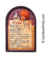 menu, do góry, znak, tradycyjny, deska, zamknięcie, włoski